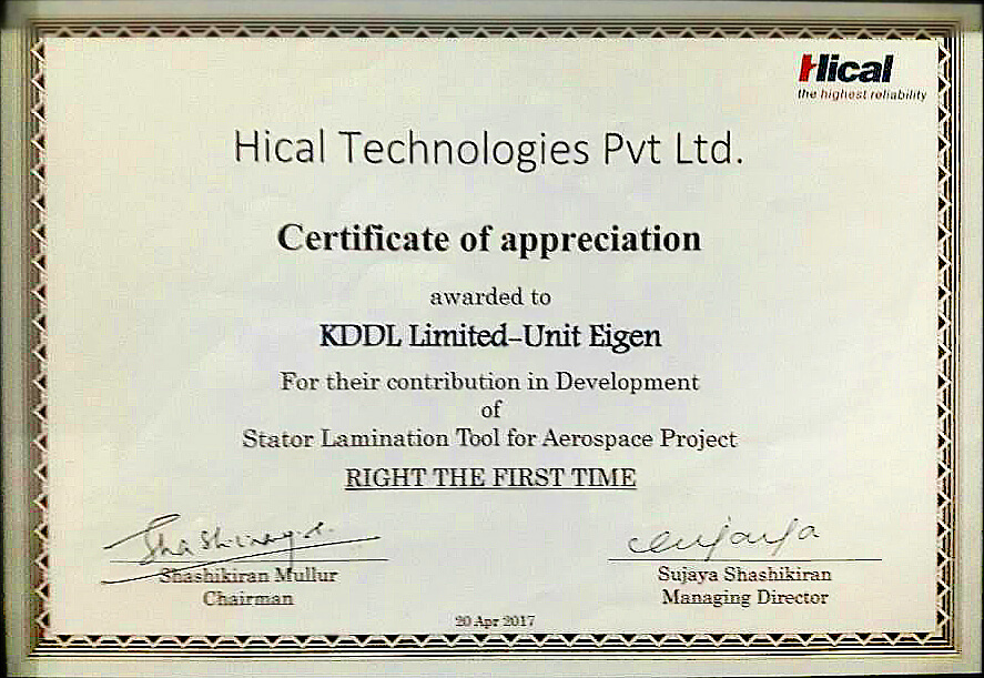 Certification of Appreciation by Hical Technologies