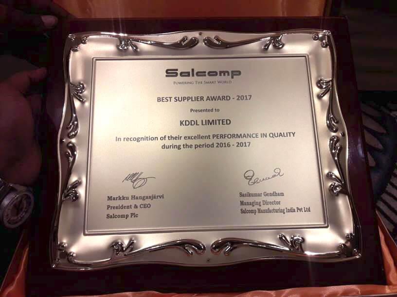Best Supplier Award - 2017